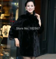 2014 imitation mink marten fur overcoat medium-long women's leather coat