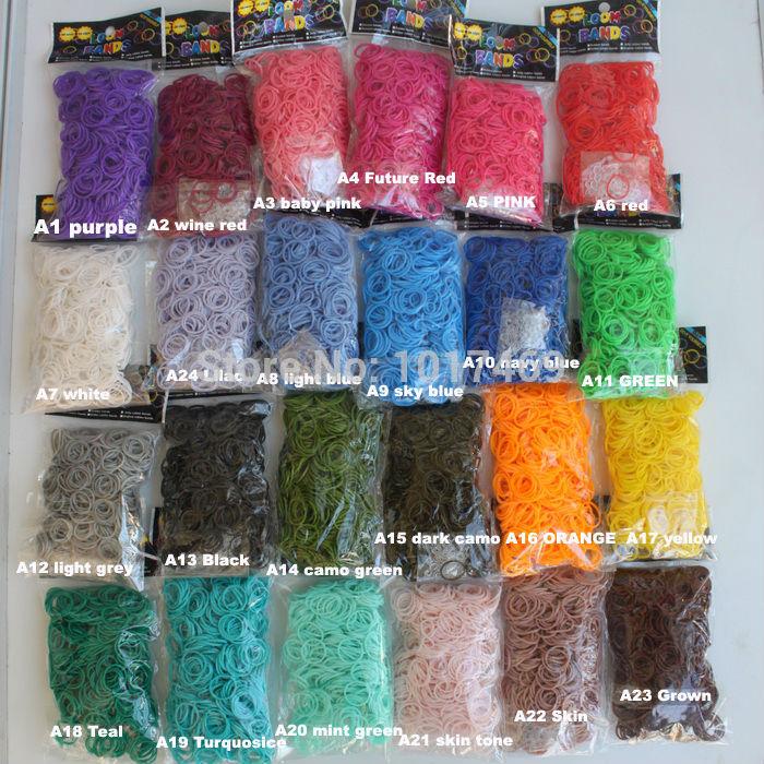 Chrismas gifts Mini order 5 bags 19 single color loom bands(600pcs bands+24 S clip) Chrimas color loom bands free shipping(China (Mainland))