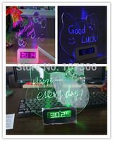 Free Shipping cat model led message clock fluorescence alarm clock with memo board&calendar