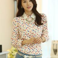Camisas Femininas 2014 Manga Longa Blusa Chiffon/Fashion women chiffon shirt/Floral print blouse thin tops/mujer ropa blusas B25