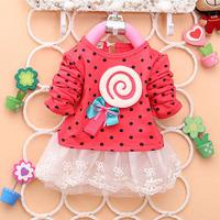 Baby Child Girls Lace Dress Lollipop Dot Bowknot Princess Tutu Kids Dress Free&DropShipping