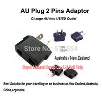 Free Shipping One Piece High Quality Au Plug 250V/10A Travel Black Adaptor For AU 2 Pins To  US/EU Business Adaptars On Sale