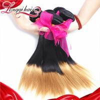 LQ Beauty Hair 4PCS Lot Peruvian Virgin Hair Straight Ombre Human Hair Extensions 1B/27 Two Tone Color Peruvian Hair Weave