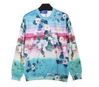 famous brand logo 2014 Gradient flower digital print sports t-shirt sweatshirt free shipping
