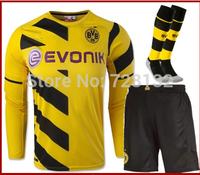 14-15 Top thailand Borussia Dortmund Home Long sleeve REUS HUMMELS IMMOBILE Soccer jersey short and the match sock,2015 jersey