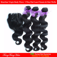brazilian virgin hair gaga hair Body Wave 4pcs lot,1pcs 3 way part lace closure with 3 hair bundles human hair Free Ship