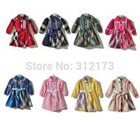 Baby girls dress children long sleeves dress autumn/winter wear girl's cotton plaid casual one-piece dress 1pcs free shipping