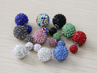 21 colors Mix Christmas Gift Fashion Brand Designed crystal piercing wedding Pearl Double shamballa Ball Pearl Earrings Jewelry