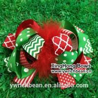chevron top ribbon children hair accessory fashion clips free shipping christmas bows 20148303