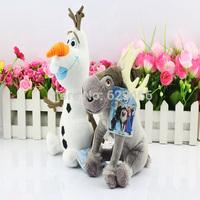 2pcs/lot Frozen Sven Plush Toys Snow Man Olaf  Dolls Princess Elsa Anna's Friend Kids Brinquedos Birthday Christmas Gifts