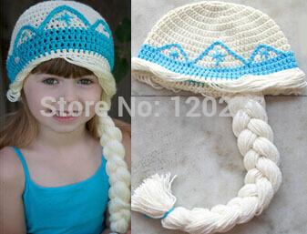 Free Shipping Crochet Frozen Hat Baby Girls Queen Elsa Princess Anna Knit Cartoon Character Hat Toddler Children Beanie Earflaps(China (Mainland))