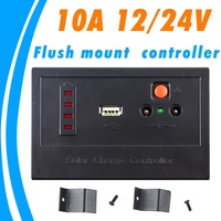 10A solar charge controller Flush mount controller with led dispaly  Flush Mount Controller PWM 12V 24V autoswitch USB output