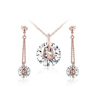Freeshipping Girl's Gift Austria crystal rose gold simple zircon  Jewelry sets Earrings+Necklace pearl jewelry