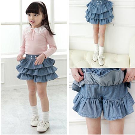 2014 New Summer Children Girls Lovely Pleated Skirts Kids Girl Denim 3 Layers Cake Pantskirt Ruffles Culotte Skirt(China (Mainland))