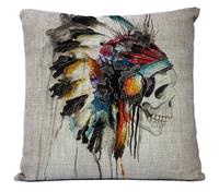 2014NEW design painted SKULL Linen pillow cover cushion cover Cartoon Pillowcases Home Decor sofa cushions 1PCS Pillows 45*45cm