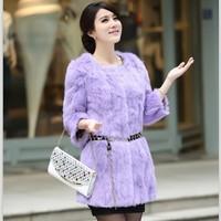 2014 women's full pelt whole skin leather natural rabbit fur coat big size outerwear coats winter overcoat new fashion clothing
