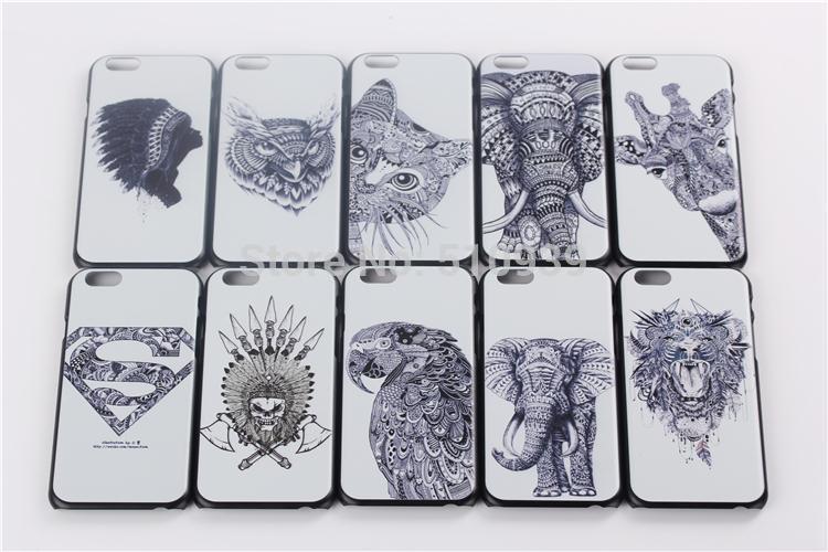 1Pcs For iphone 6 Case Hot VTG style head case aztec elephant giraffe owl animal Super man Hard Back Covers Mobile Phone Bags(China (Mainland))