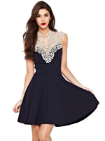 Knee Length Sleeveless Cochet  Black Dress With White Lace Vestidos Sexy  Summer Vintage Lady Party Dresses
