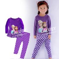 Drop shipping Wholesale 6 sets/lot 100%cotton girls long sleeve pajamas 3D Frozen Autumn Winter sleepwear X-481
