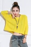 2014 New arrival limited hot sale promotion collection short sleeve head twist sweater female coat Pullovers Casual O-Neck real
