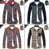SMA150-2 Men Shirt M-4XL Autumn Winter Long Sleeve Plaid Casual Shirt Mens Cotton Slim Fit Quality Dress Shirts Men Clothes