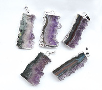 YA0968 Natural Amethyst Druzy Slice Pendant Silver plated