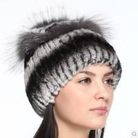 2014 Winter Real Rex rabbit fur hats for women sale big Natural Silver Fox fur flower top vertical stripes