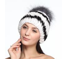 2014 Winter 100% real Rex Rabbit fur hat for women handmade knitted beanies spiral pattern silver fox fur ball on the top