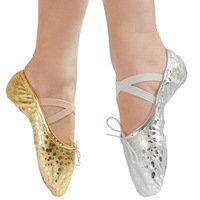Min. Order any 2 pcs in shop Size23~44 children soft sole girls ballet shoes Women Ballet Dance Shoes for kids adult ladies gold