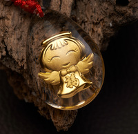 Artificial crystal 99.9% gold lovely angel pattern necklace pendant, free shipping