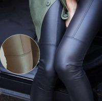 Big Sale ! 2014 New Trend Knitting women's Nine minutes pants Fashion sexy Imitation leather slim PU elastic leggings 2 Colors