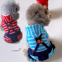 Striped Overall Denim Red Pet Puppy Clothing For Small Dogs GH0701 Winter Warm Puppy XS/S/M/L/XL Cat Jumpsuits Accessories