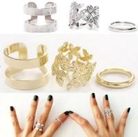 Sunshine jewelry store Shiny Punk Polish Flower Stack Plain Band Midi Mid Finger Knuckle Ring Set high quality Rock