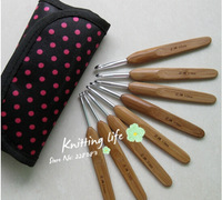 NEW ARRIVAL 8PCS/lot 8 Sizes Bamboo Needle Crochet Hooks With Cute Bag hot sale 25