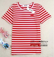 2014 Comme des garcons cdg play white red hollow Men cotton short-sleeve T-shirt