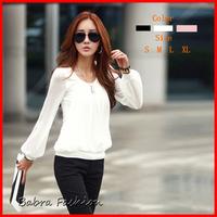 vestidos Women chiffon long-sleeve collar Shirts 2014 fashion womans blouses top sale