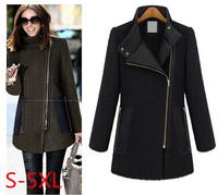 2014 New Fashion Women Size Plus S M L XL XXL 3XL 4XL 5XL Winter Coat Side Zipper Woolen Tweed Nibbuns Slim Fit Female Outerwear