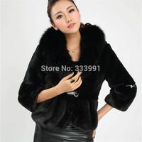 2014 new autumn winter Imitation fur coat faux rabbit hair faux Fox collars Women's coat clothing Coat dust coat overcoat