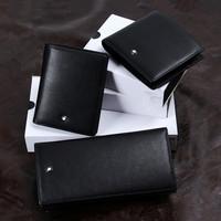 2014 Hot Sale Men's  Luxurious wallet Cowhide material Classic black  Business purse  Drop shipping