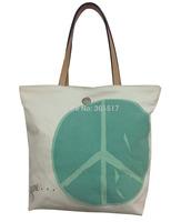 High Quality Deluxe Heavy Duty Cotton Canvas Beach Tote HandBag World Peace Printing