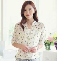 2014 New Summer Women long-sleeve bird Print Chiffon Shirts Fashion Slim Blouses Shirts for Women QBS05