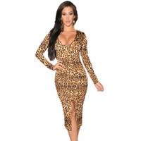 New 2015 Sexy women Autumn European style casual dress Long-sleeve Deep V neck Leopard print Midi Dress With Front Slit LC6679