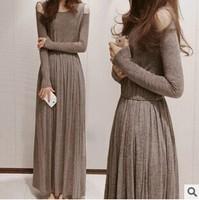 Spring Grey New Korean Womens Dress Autumn Knitting Strapless Long Sleeve Dresses M L XL  A0154