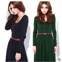 2014 Autumn Retro Knitting Dress Womens O Neck Long Sleeve With Belt Button Dresses M L XL A0155