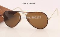 2015 NEW MEN WOMEN brand name original aviator sunglasses full color 3025-JM 001 58mm tortoise with brown lens in box case