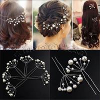 10X WEDDING BRIDAL FAUX PEARL FLOWER HAIR PIN CLIP
