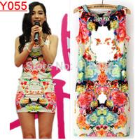 Y055--New sexy women mini dressThe magpies flower print dress S M L  Free shipping