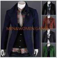Men's new winter Hot double-breasted woolen coat long sections mens trench free shipping M-XXL