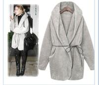 New Fashion 2014 Autumn Winter UK Big Plus Size High Street Women's Winter Warm Hoodie Down Warm Outerwear Cardigan Jacket Coat