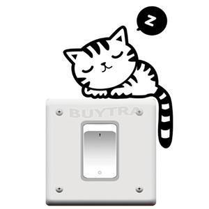 2014 New Beautiful Home Decoration Wall Stricker Cute Cartoon Sleeping Cat Light Switch Stickers(China (Mainland))